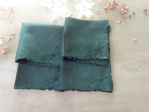 Hand Dyed Vintage Green Cocktail Napkins    SOLD