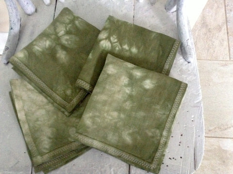 vintage olive green cocktail napkins