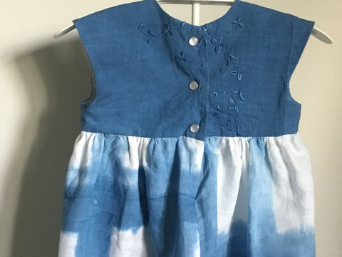 Girl's Dress with Hand Dyed Linen Bodice
