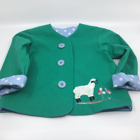 Hand sewn lined child's jacket with embroidery