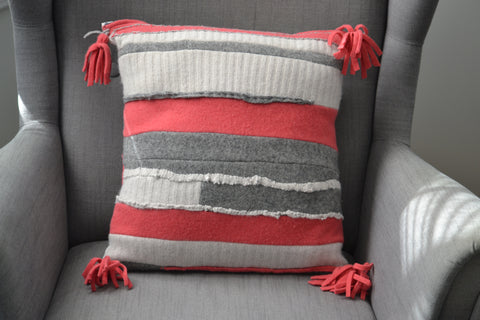Upcycled wool throw pillow