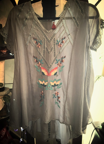 Johnny Was Embroidered Mosaic Blue-Steel Blouse