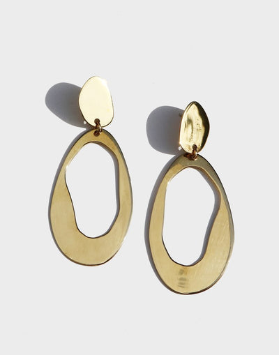 Oval Loop Earring High Polished Brass