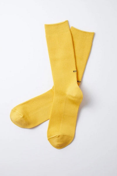 Stretchy Ribbed Crew Socks - Yellow