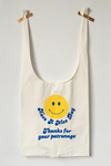 Smiley Face Fabric Gratitude Grocery Bag