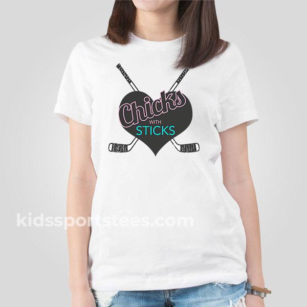 Chicks with Sticks Girls Hockey T-shirt