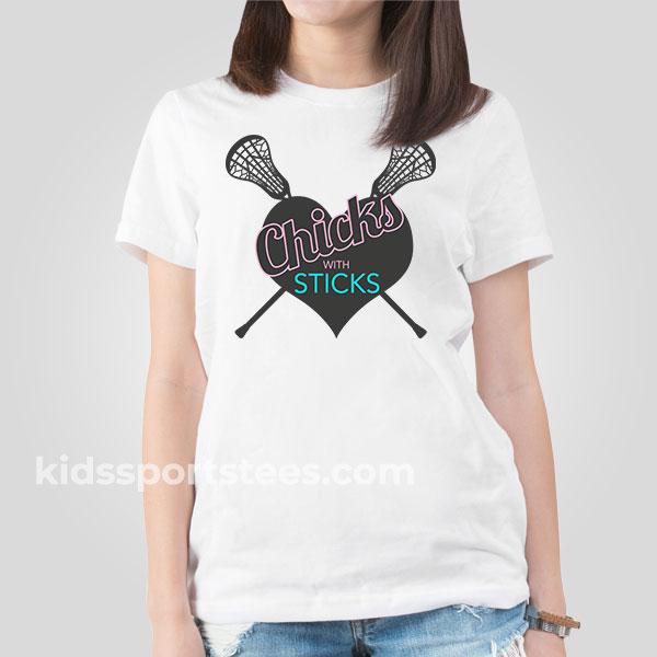 Chicks with Sticks Girls Lacrosse T-Shirt