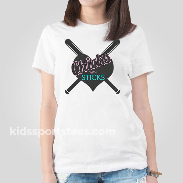 Chicks with Sticks Girls Softball T-shirt
