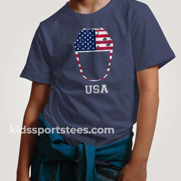 USA Flag Hockey Helmet T-Shirt