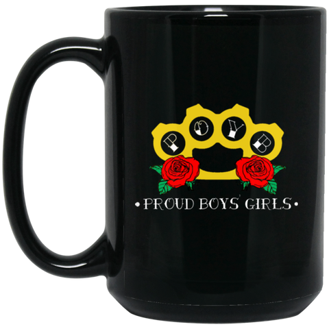 BRASS KNUCKLES: 15 oz. Black Mug