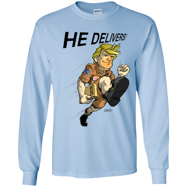 HE DELIVERS: Youth LS T-Shirt