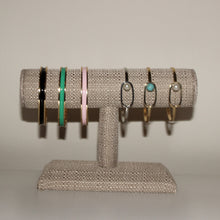 This baby pink enamel cuff is perfect for stacking with your other favorite bracelets, and just as stylish when worn alone. Adjustable in size.