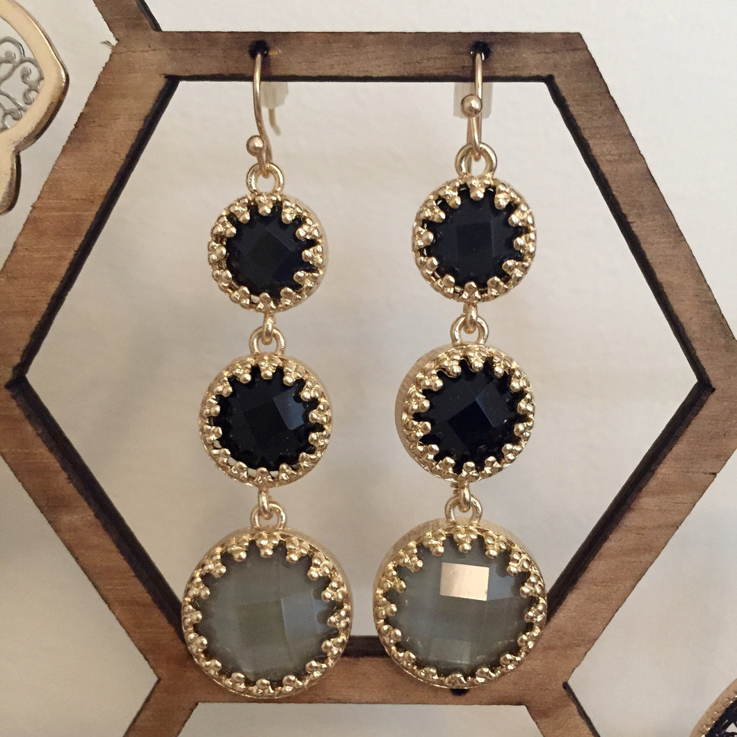 Beautiful black and gray stone drop earrings to amp up any extra special looks. Drop measures 2