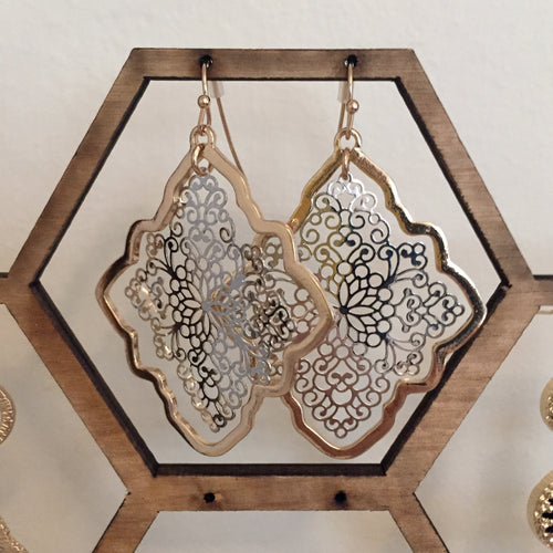Lightweight filigree dangly earrings in a trendy mixed metal tone. Super versatile. Drop measures 2