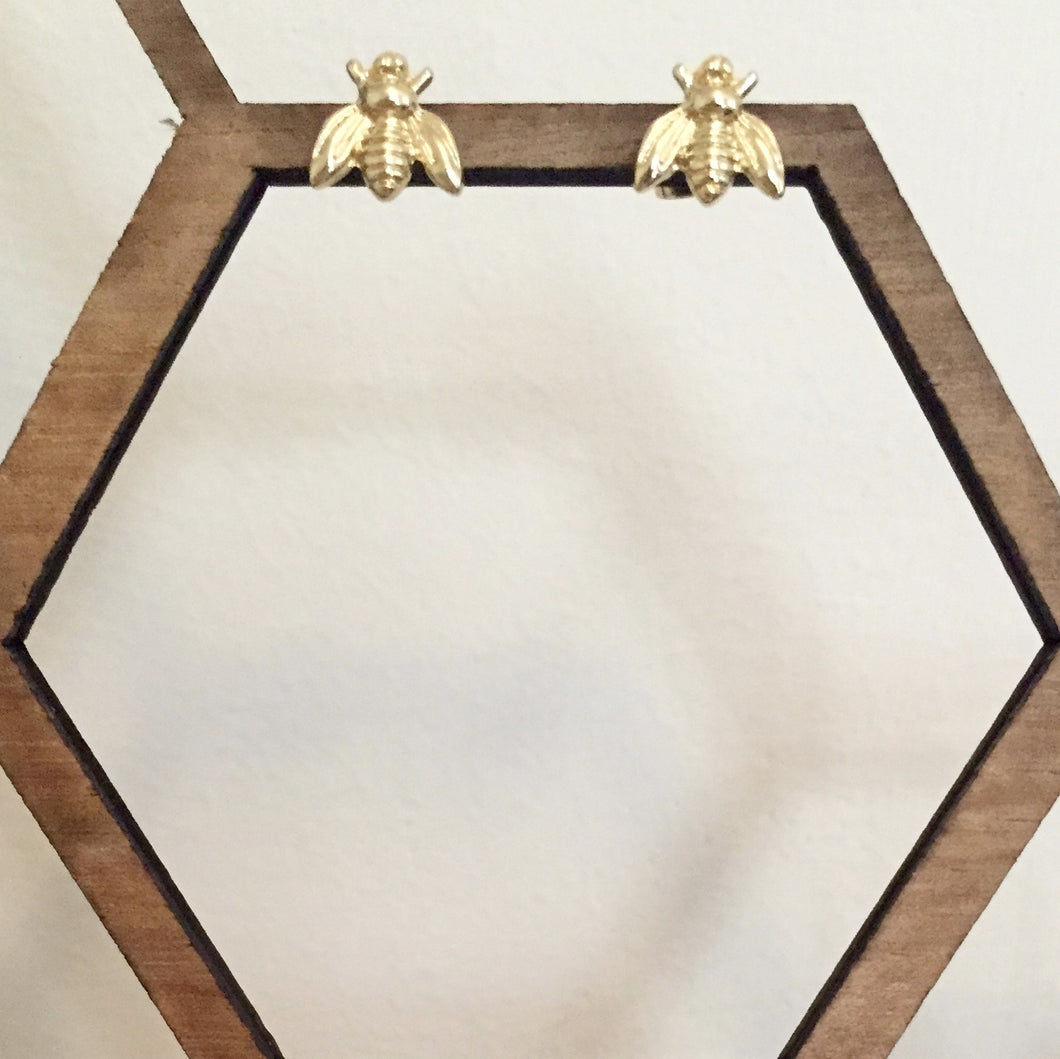 Adorable bee studs in gold. Delicate enough for everyday wear, but their detail makes them a conversation piece.