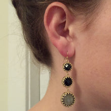 "Beautiful black and gray stone drop earrings to amp up any extra special looks. Drop measures 2""."