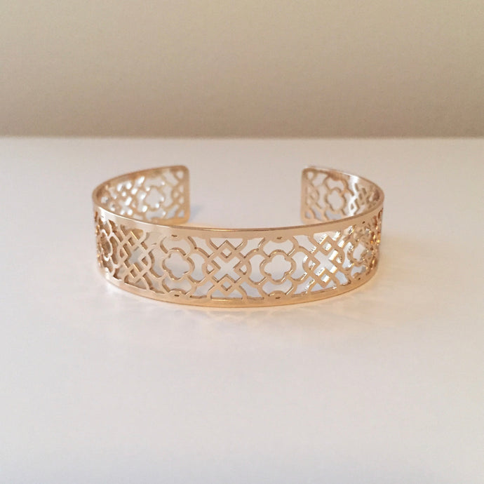Gold Quatrefoil Stenciled Adjustable Cuff