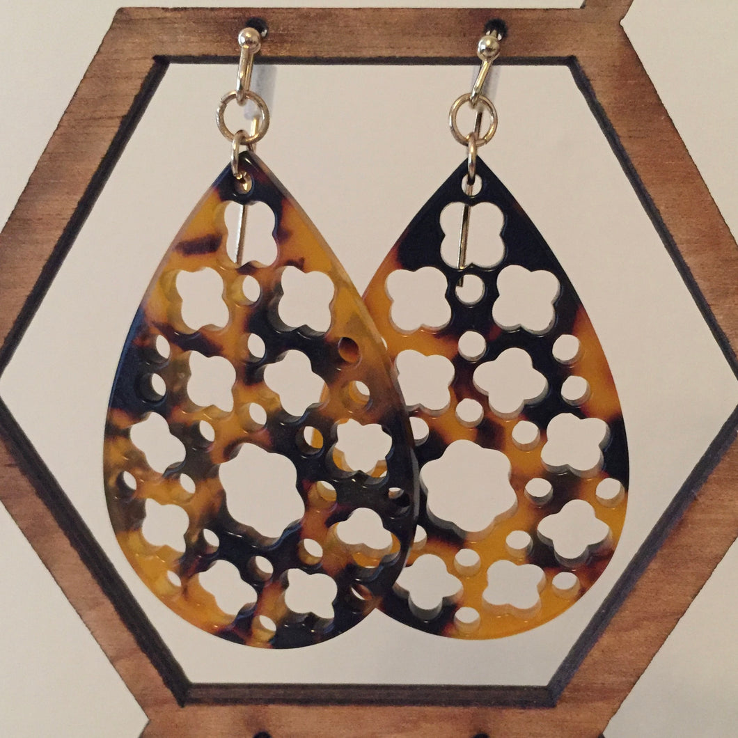 Tortoiseshell Dangly Earrings