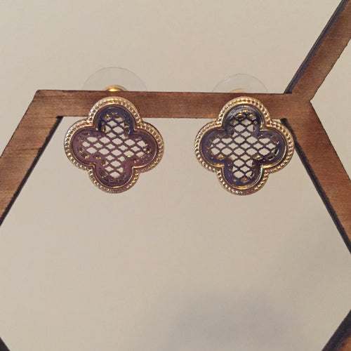 Mixed Metal Clover Stud Earrings