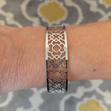 Silver Quatrefoil Stenciled Adjustable Cuff