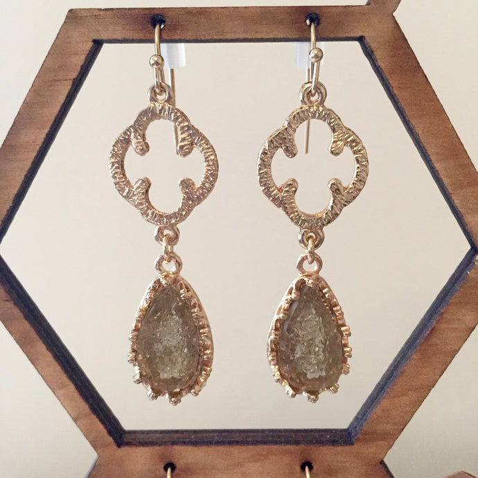 Clover and Druzy Drop Earrings