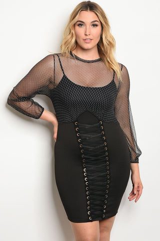 Plus size fitted lace up  skirt dress with a mesh long sleeve unlined top