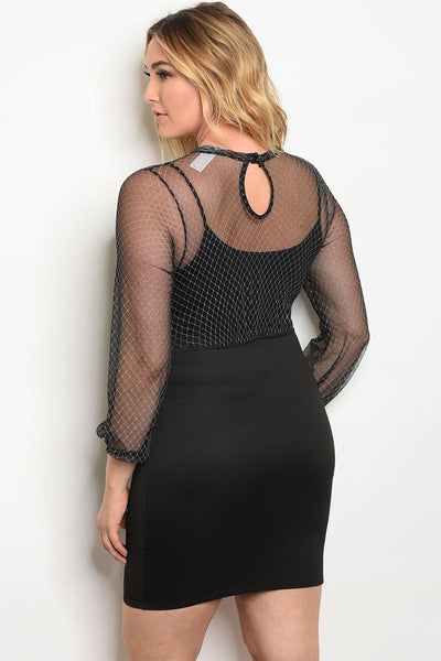 253a5ab6982 Plus size fitted lace up skirt dress with a mesh long sleeve unlined t –  Attitude Athleisure Wear