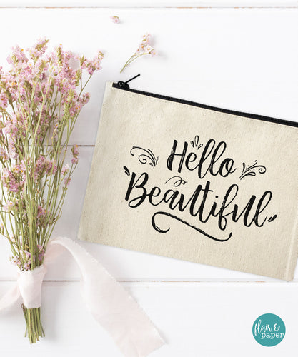 Hello Beautiful Makeup Bag - Cosmetic Pouch
