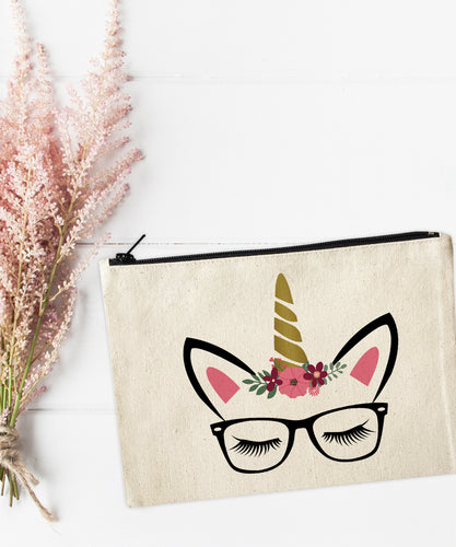 Unicorn Glasses Makeup Bag