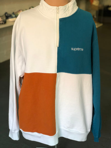 Supreme Color Blocked Half Zip Sweatshirt