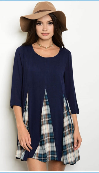 Navy Plaid Top