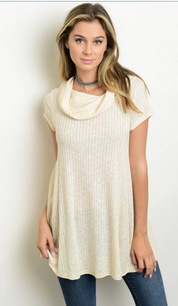 Oatmeal Short Sleeve Cowl Neck Top