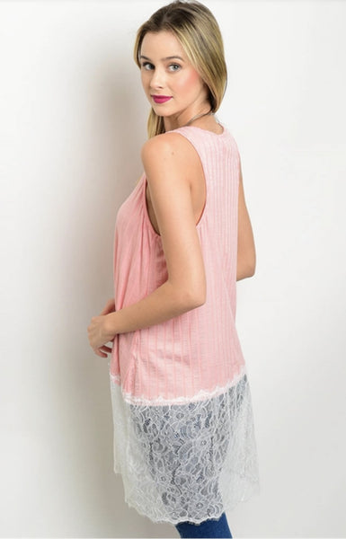 Peach and Lace Tank