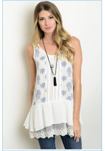 White and Blue Floral Lace Tank
