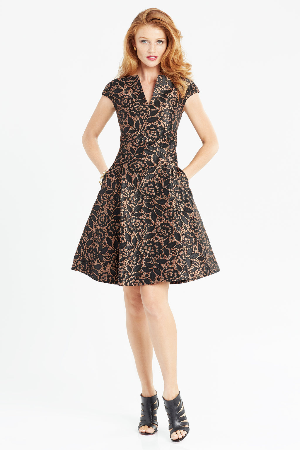 Brocade fit and flare dress in black and copper