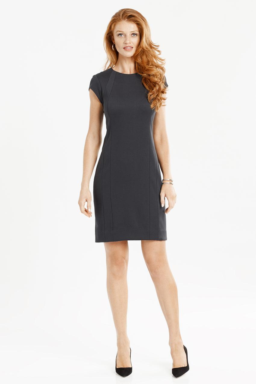 Wrinkle resistant double knit cap sleeve dress in black