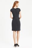 Back profile of Wrinkle resistant double knit cap sleeve dress in black