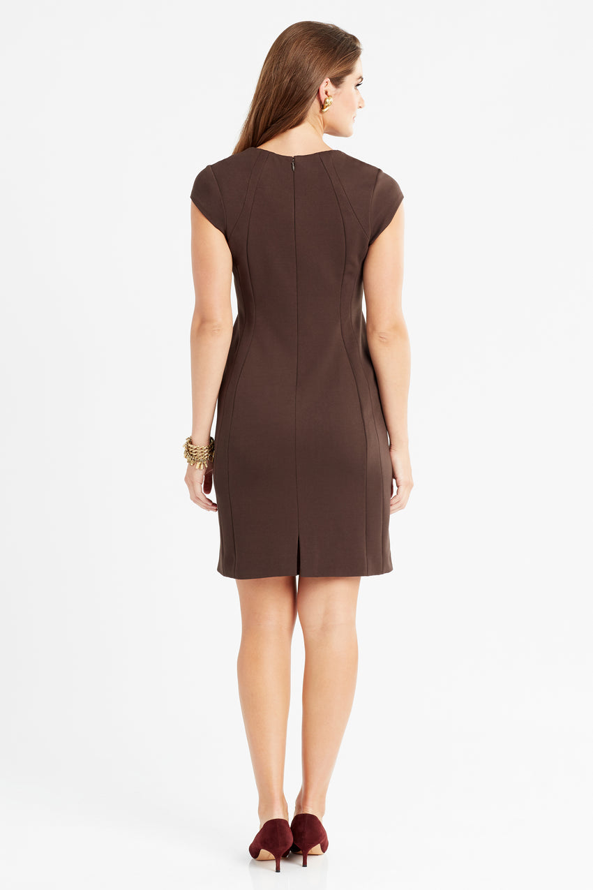 Back profile of wrinkle resistant double knit cap sleeve dress in espresso/brown/mocha