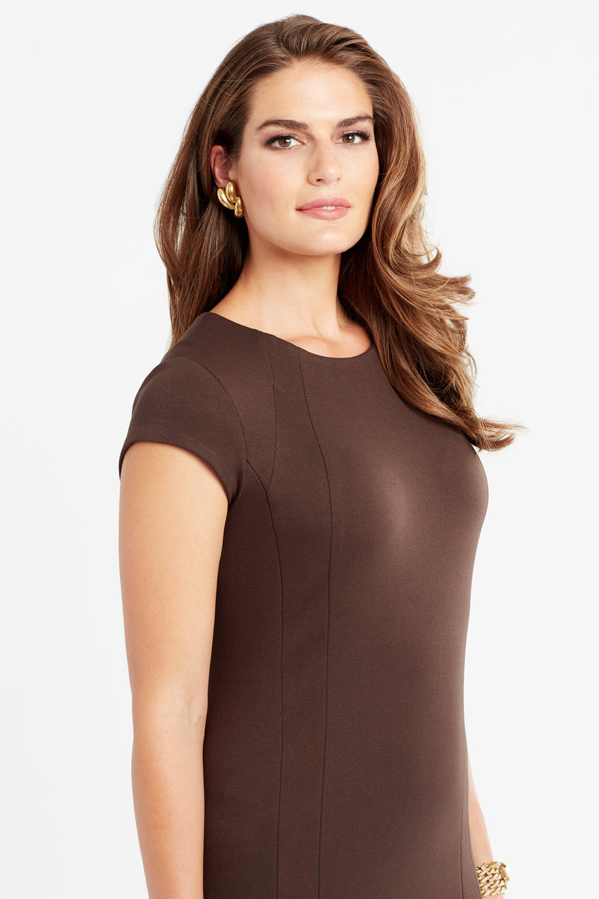 Wrinkle resistant double knit cap sleeve dress in espresso/brown/mocha