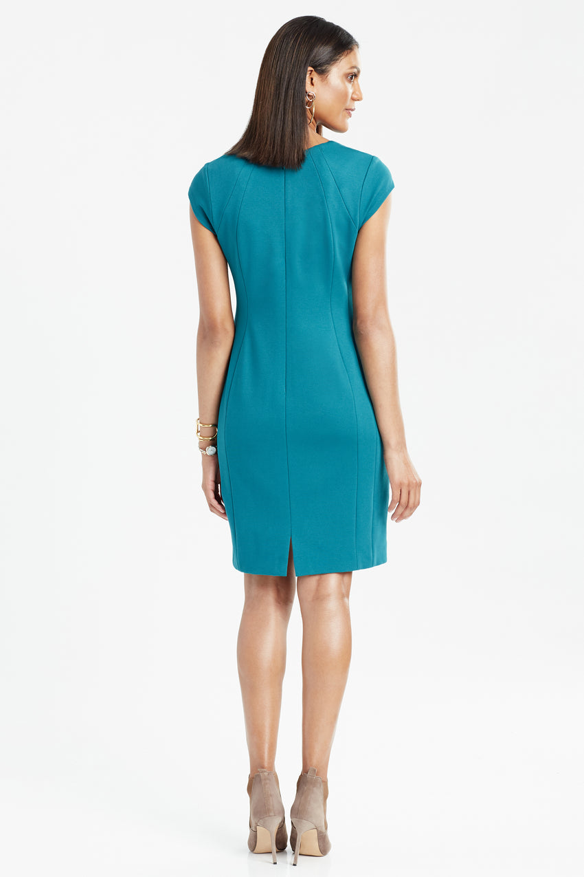 Back profile of Wrinkle resistant double knit cap sleeve dress in teal
