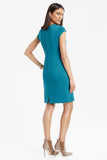 Side profile of Wrinkle resistant double knit cap sleeve dress in teal