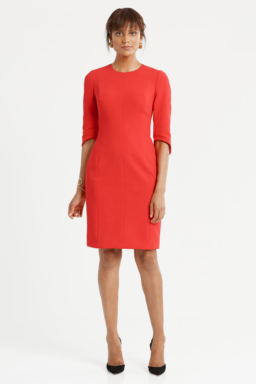 Princess seamed Crepe Sculpted Sheath Dress in red