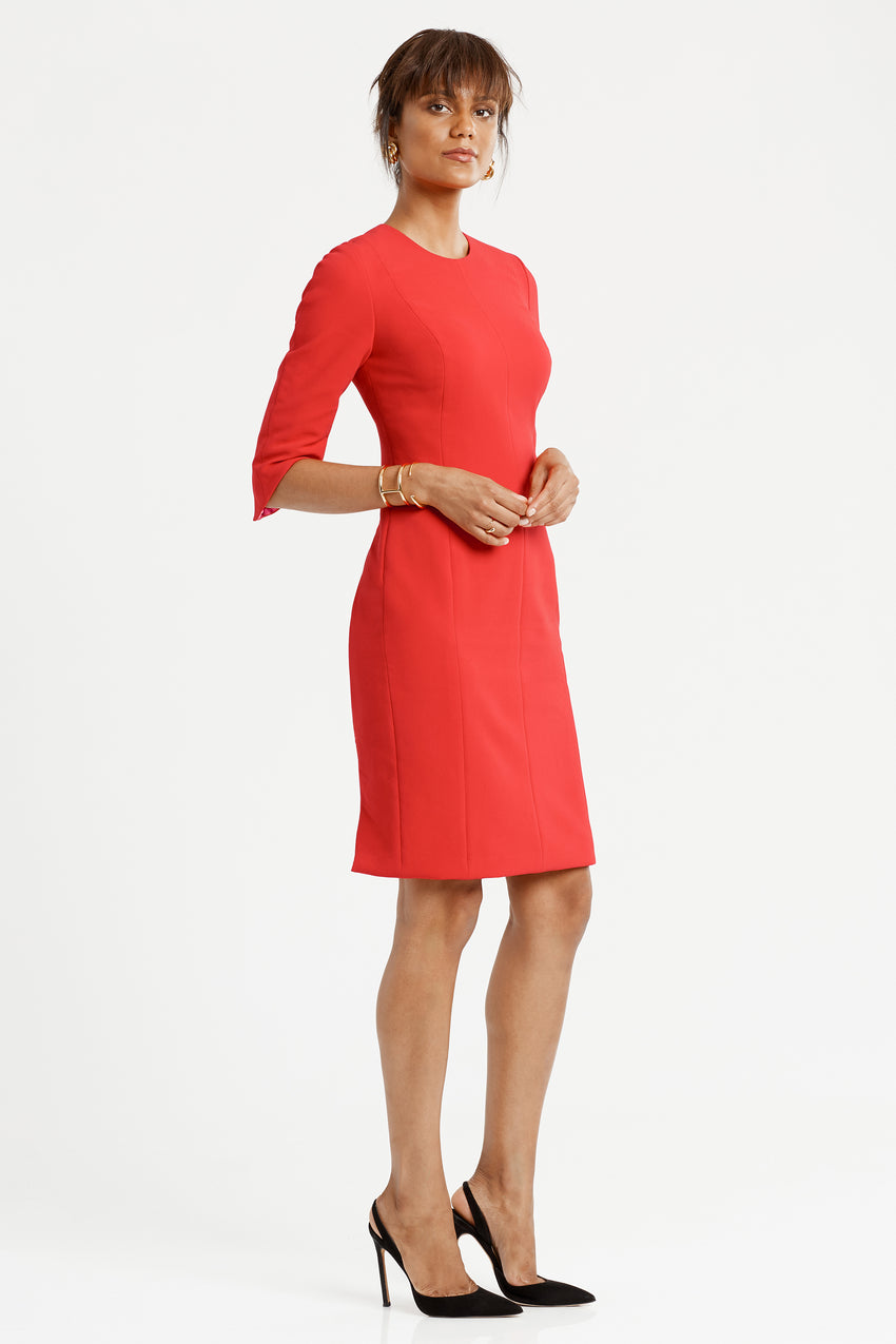 Side profile of Princess seamed Crepe Sculpted Sheath Dress in red
