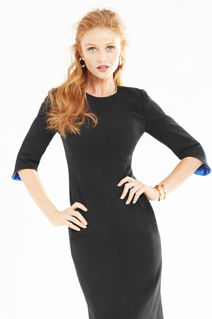 Princess seamed Crepe Sculpted Sheath Dress in black with contrast lining in blue