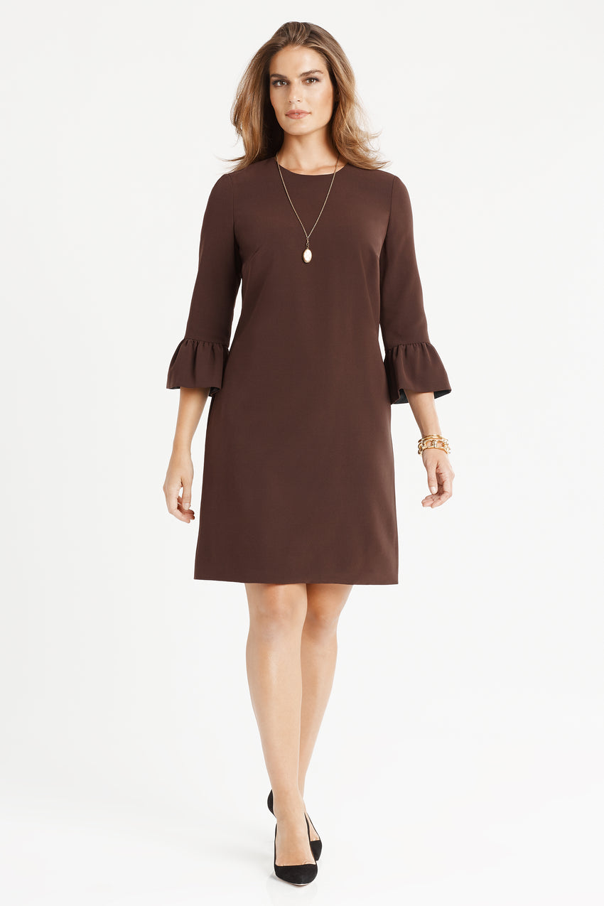 Bell sleeve a-line dress in espresso/brown