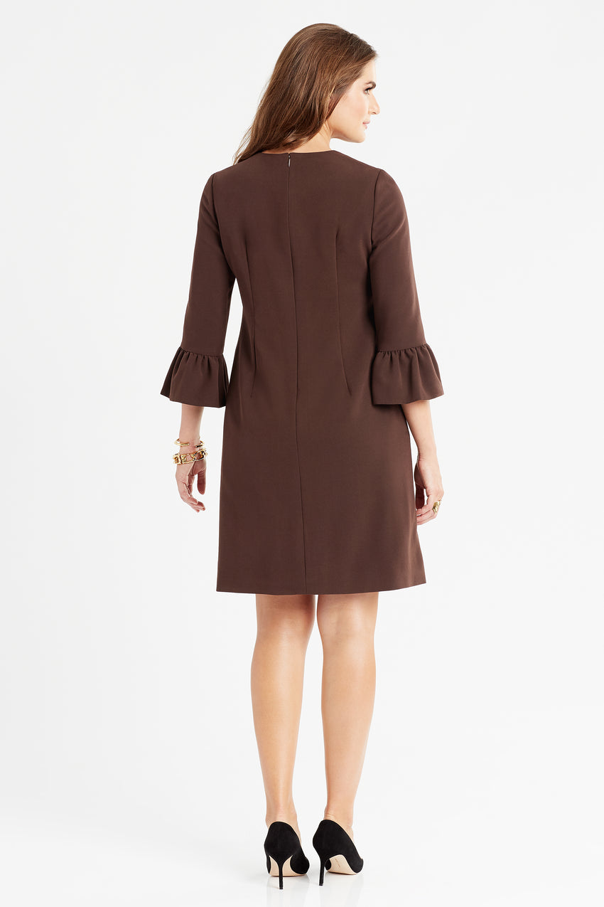 Back profile of bell sleeve a-line dress in espresso/brown/mocha