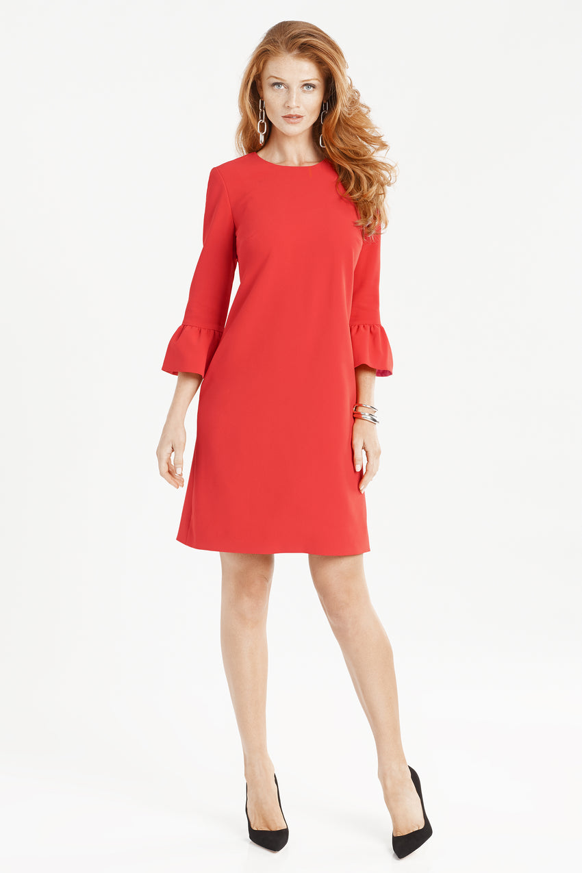 Bell sleeve a-line dress in red