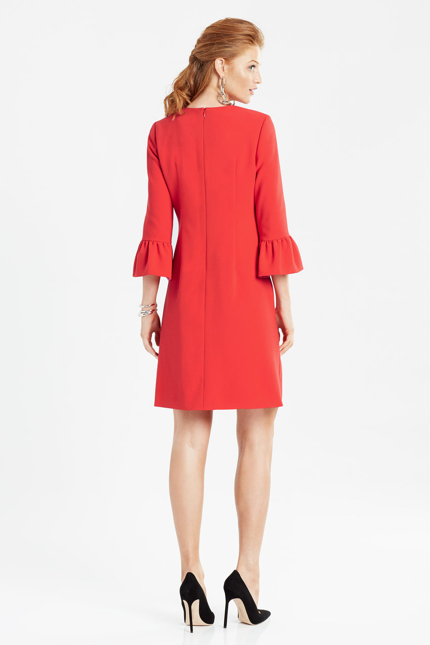 Back profile of bell sleeve a-line dress in red