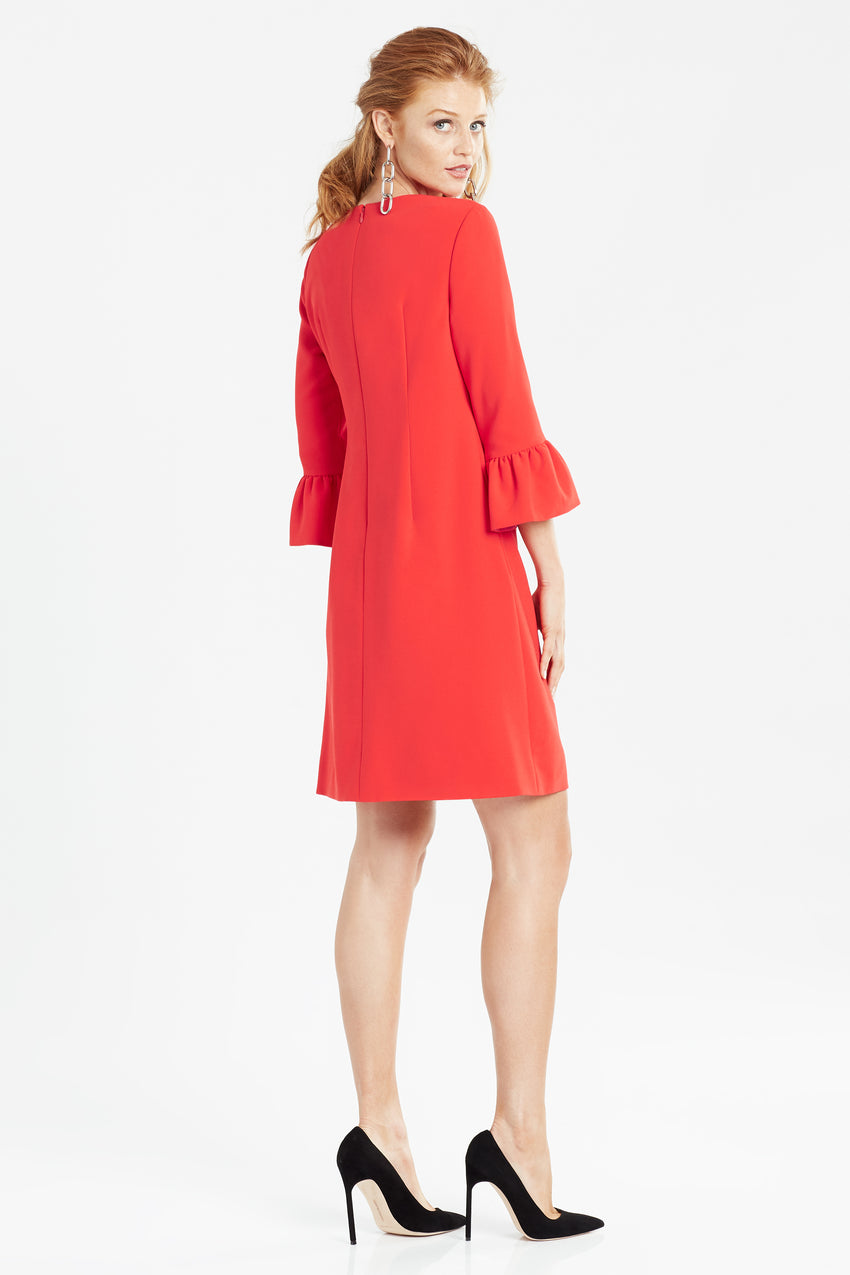 Side profile of bell sleeve a-line dress in red