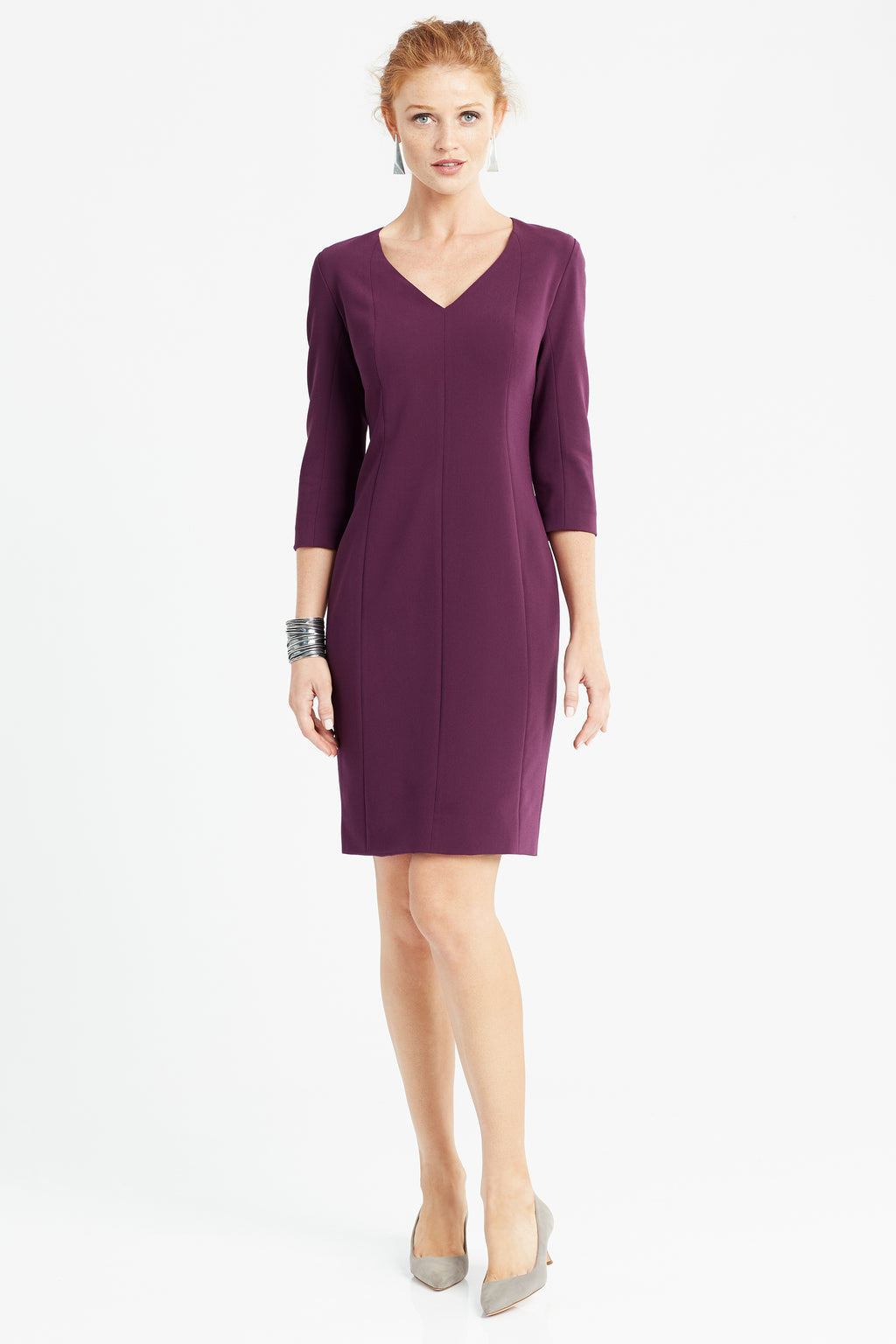 Below knee v neck form-fitting sheath dress in aubergine/purple/eggplant